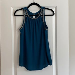 Teal tank with beading trim